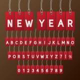 Abstrakcjonistyczna nowy rok etykietki chrzcielnica i liczby Zdjęcie Stock