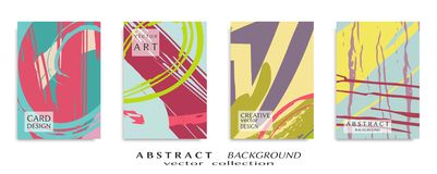Abstrakcjonistyczna ogólnoludzka grunge sztuki tekstura, muśnięć uderzenia, szkotowy a4 set zdjęcia royalty free