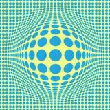 Abstrakcjonistyczna Okulistycznego złudzenia Op sztuka z błękit kropkami na żółtym tle deseniowy bezszwowy ilustracji