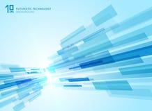 Abstrakcjonistyczna perspektywiczna futurystyczna technologia geometryczna z światłem ilustracja wektor