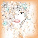 Abstrakcjonistyczna piękna kobieta z kwiatami Zdjęcia Royalty Free
