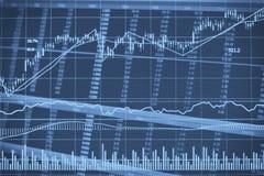 Abstrakcjonistyczna pieniężna candlestick mapa z kreskowym wykresem i akcyjne liczby w Dwoistym ujawnieniu projektujemy tło Fotografia Stock