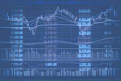 Abstrakcjonistyczna pieniężna candlestick mapa z kreskowym wykresem i akcyjne liczby w Dwoistym ujawnieniu projektujemy tło Obrazy Stock