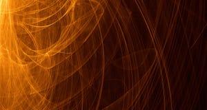 Abstrakcjonistyczna pomarańcze, kolor żółty, złota światła łuny, promienie, kształtuje na ciemnym tle Zdjęcia Royalty Free