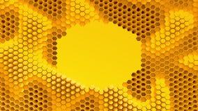 Abstrakcjonistyczna pomarańcze krystalizujący tło Honeycombs ruch jak ocean Z miejscem dla teksta lub loga Obraz Stock