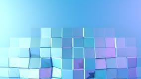 Abstrakcjonistyczna prosta błękitna fiołkowa niska poli- 3D powierzchnia jako CG tło Miękki geometryczny niski poli- ruchu tło z  royalty ilustracja