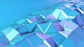 Abstrakcjonistyczna prosta błękitna fiołkowa niska poli- 3D powierzchnia jako fantastyka naukowa tło Miękki geometryczny niski po ilustracji