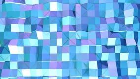 Abstrakcjonistyczna prosta błękitna fiołkowa niska poli- 3D powierzchnia jako matematyki środowisko Miękki geometryczny niski pol zbiory