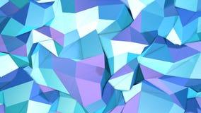 Abstrakcjonistyczna prosta błękitna fiołkowa niska poli- 3D powierzchnia jako modny tło Miękki geometryczny niski poli- ruchu tło royalty ilustracja