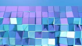 Abstrakcjonistyczna prosta błękitna fiołkowa niska poli- 3D powierzchnia jako złożoności tło Miękki geometryczny niski poli- ruch ilustracji