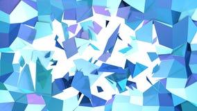 Abstrakcjonistyczna prosta błękitna fiołkowa niska poli- 3D rozłamu powierzchnia jako cyber tło Miękki geometryczny niski poli- r ilustracji