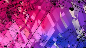 Abstrakcjonistyczna prosta błękitnej czerwieni niska poli- 3D powierzchnia jako środowisko Miękki geometryczny niski poli- ruchu  ilustracja wektor