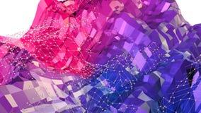 Abstrakcjonistyczna prosta błękitnej czerwieni niska poli- 3D powierzchnia jako chłodno tło Miękki geometryczny niski poli- ruchu ilustracji