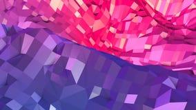 Abstrakcjonistyczna prosta błękitnej czerwieni niska poli- 3D powierzchnia jako elegancki 3D tło Miękki geometryczny niski poli-  royalty ilustracja