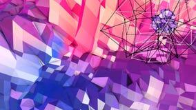 Abstrakcjonistyczna prosta błękitnej czerwieni niska poli- 3D powierzchnia jako elementu ruchu grafika Miękki geometryczny niski  ilustracja wektor