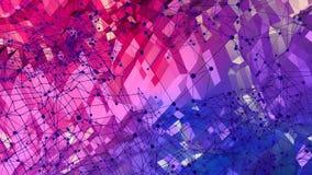 Abstrakcjonistyczna prosta błękitnej czerwieni niska poli- 3D powierzchnia jako fractal środowisko Miękki geometryczny niski poli ilustracji