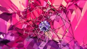 Abstrakcjonistyczna prosta błękitnej czerwieni niska poli- 3D powierzchnia jako futurystyczna ulga Miękki geometryczny niski poli ilustracji