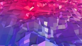 Abstrakcjonistyczna prosta błękitnej czerwieni niska poli- 3D powierzchnia jako 3d kreskówki tło Miękki geometryczny niski poli-  ilustracja wektor