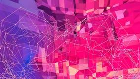 Abstrakcjonistyczna prosta błękitnej czerwieni niska poli- 3D powierzchnia jako modny tło Miękki geometryczny niski poli- ruchu t zdjęcie wideo