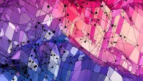 Abstrakcjonistyczna prosta błękitnej czerwieni niska poli- 3D powierzchnia jako poligonal środowisko Miękki geometryczny niski po royalty ilustracja
