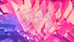Abstrakcjonistyczna prosta błękitnej czerwieni niska poli- 3D powierzchnia jako prosty tło Miękki geometryczny niski poli- ruchu  ilustracji