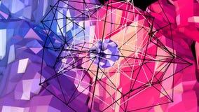 Abstrakcjonistyczna prosta błękitnej czerwieni niska poli- 3D powierzchnia jako surrealistyczny teren Miękki geometryczny niski p ilustracja wektor