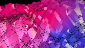 Abstrakcjonistyczna prosta błękitnej czerwieni niska poli- 3D powierzchnia jako tło Miękki geometryczny niski poli- ruchu tło z c ilustracja wektor