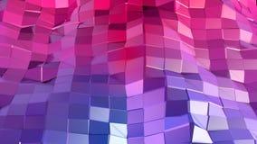 Abstrakcjonistyczna prosta błękitnej czerwieni niska poli- 3D powierzchnia jako uroczy tło Miękki geometryczny niski poli- ruchu  royalty ilustracja