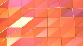 Abstrakcjonistyczna prosta różowa pomarańczowa niska poli- 3D powierzchnia jako animowany środowisko Miękki geometryczny niski po ilustracji