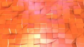 Abstrakcjonistyczna prosta różowa pomarańczowa niska poli- 3D powierzchnia jako matematycznie unaocznienie Miękki geometryczny ni ilustracja wektor