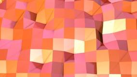 Abstrakcjonistyczna prosta różowa pomarańczowa niska poli- 3D powierzchnia jako olśniewający środowisko Miękki geometryczny niski royalty ilustracja