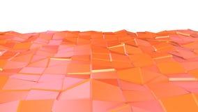 Abstrakcjonistyczna prosta różowa pomarańczowa niska poli- 3D powierzchnia jako technologii tło Miękki geometryczny niski poli- r ilustracji