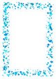 Abstrakcjonistyczna prostokąt rama robić błękitni serca odizolowywający na białym tle, A4 papier z miłości pojęcia granicą, walen Zdjęcie Royalty Free