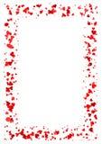 Abstrakcjonistyczna prostokąt rama robić czerwoni serca odizolowywający na białym tle, A4 papier z miłości pojęcia granicą, walen Zdjęcie Royalty Free