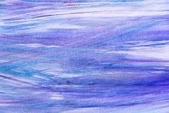 Abstrakcjonistyczna ręka malujący błękitny farby kanwy tło abstrakcjonistyczna tła błękita akwarela sztuki ręki farba na bielu Zdjęcia Stock