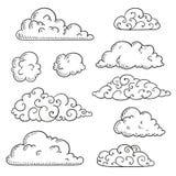 Abstrakcjonistyczna ręka Rysować Doodle chmury royalty ilustracja