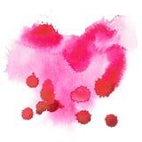 Abstrakcjonistyczna ręka rysująca akwareli aquarelle kształtów sztuki czerwonego koloru kolorowa farba lub krwionośna splatter pl Fotografia Royalty Free