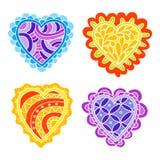 Abstrakcjonistyczna ręka rysująca doodle serc dekoracja ustawiająca dla walentynka dnia Zdjęcie Royalty Free