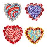 Abstrakcjonistyczna ręka rysująca doodle serc dekoracja ustawiająca dla walentynka dnia Zdjęcia Royalty Free