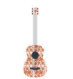 Abstrakcjonistyczna retro muzyczna gitara z kwiatu wzorem Zdjęcia Royalty Free