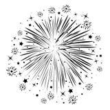Abstrakcjonistyczna rocznica pęka fajerwerki Zdjęcie Royalty Free
