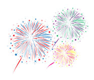 Abstrakcjonistyczna rocznica pęka fajerwerki Zdjęcia Royalty Free