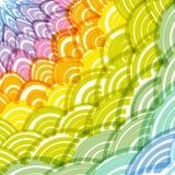 Abstrakcjonistyczna Round wianku składu tęczy rama prosty natury tęczy tło z azjata fali okręgu wzoru zieleni kolorem żółtym Oran royalty ilustracja