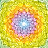 Abstrakcjonistyczna Round wianku składu tęczy rama prosty natury tęczy tło z azjata fali okręgu wzoru zieleni kolorem żółtym Oran ilustracji