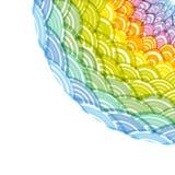 Abstrakcjonistyczna Round wianku składu tęczy rama prosty natury tęczy tło z azjata fali okręgu wzoru zieleni kolorem żółtym Oran ilustracja wektor