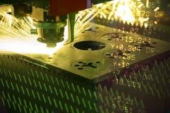 Abstrakcjonistyczna scena CNC włókna laserowa tnąca maszyna Obraz Stock