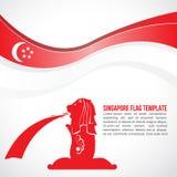 Abstrakcjonistyczna Singapur flaga fala i Merlion fontanna Obraz Royalty Free