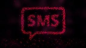 Abstrakcjonistyczna SMS animacja Formacja SMS znak od kropek na czarnym tle ilustracja wektor