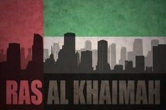 Abstrakcjonistyczna sylwetka miasto z teksta Rasa Al Khaimah przy roczniki jednoczącymi arabskimi emiratami zaznacza Zdjęcia Stock