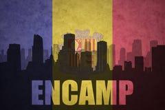 Abstrakcjonistyczna sylwetka miasto z tekstem Encamp przy rocznika Andorran flaga Obrazy Stock